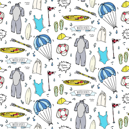 Seamless pattern hand drawn doodle Water sports icon set. Vector illustration Symbols collection Cartoon various elements: jetski, wakeboard, waterski, surfing, kayak, kitesurfing, paddle, parasailing