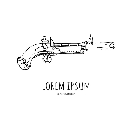 Hand drawn doodle Pirates related icon -old style gun with flying bullet. Vector illustration Cartoon piracy concept. Gun revolver handgun Shooter pistol drawing  Sketch in a vintage retro style Ilustração