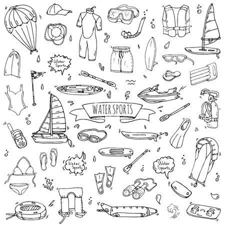 Doodle dibujado a mano Iconos de deportes acuáticos conjunto. Ilustración vectorial, colección de símbolos aislados, Cartoon varios elementos: jetski, wakeboard, esquí acuático, surf, kayak, kitesurf, paddle, parapente Ilustración de vector