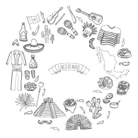 Hand drawn doodle Cinco de Mayo Mexico icons set.