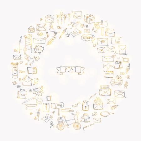Hand drawn doodle Postal elements icon set.