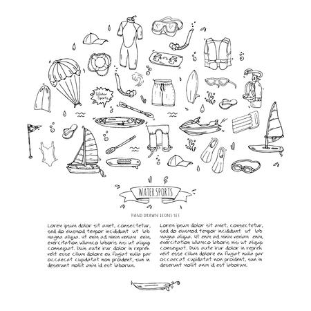 Dibujado a mano doodle Conjunto de iconos de deportes acuáticos. Ilustración de vector
