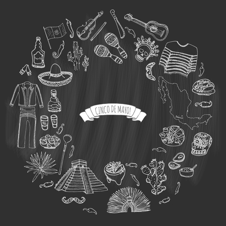 Hand drawn doodle Cinco de Mayo Mexico icons set. Vector illustration