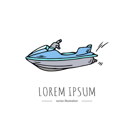 Hand drawn doodle Water sports related icon - jet ski. Vector illustration isolated symbols on white background Cartoon colorful element for jet skiing for web, site, design, template, banner