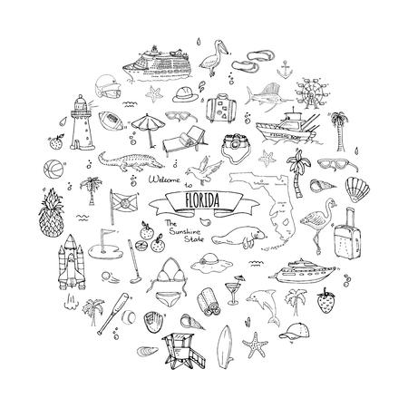 手描き落書きフロリダのアイコンを設定します。ベクトル図では、米国の分離記号コレクション状態、漫画要素ワニ マナティー ヨット クルーズ羊