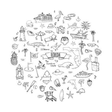 Hand drawn doodle Florida icons set. Vector illustration, isolated symbols collection of USA state, Cartoon elements Alligator Manatee Yacht Cruise sheep Fishing boat Golf American football Palm trees Фото со стока - 77850393