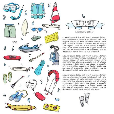 Ícones de esportes aquáticos doodle desenhados a mão. Ilustração do vetor, coleção de símbolos isolados, vários elementos dos desenhos animados: jetski, wakeboard, esqui aquático, surf, caiaque, kitesurf, paddle, parasailing