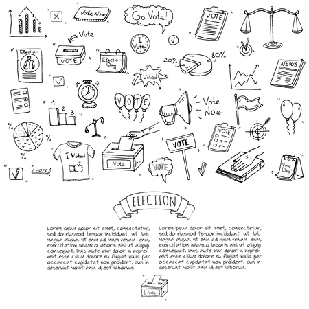 Hand drawn doodle Vote icons set. Vector illustration. Election symbols collection. Cartoon various voting elements: hand putting paper in the ballot box, speaker, scale, calendar, infographics, case. Ilustrace