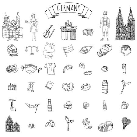 Hand drawn doodle set of Germany icons. Vector illustration set. Cartoon German landmark. Sketchy Europe travel elements collection: Sausage, Beer, Wheat bread, football, tennis, classic music, castle