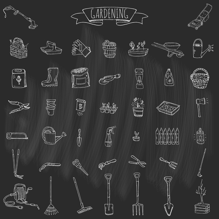 hand trowel: Hand drawn doodle set of Gardening icons. Vector illustration set. Cartoon Garden symbols. Sketchy elements collection: lawnmower, trimmer, spade, fork, rake, hoe, trug, wheelbarrow, hose reel.
