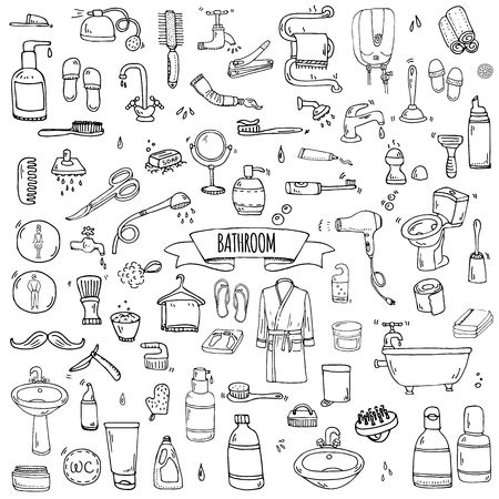 Hand drawn doodle Bathroom related icons set Vector illustration home bath symbols collection Cartoon elements on white background Sketch Toilet Sink Shower Bathtub Lavatory Towel Robe Slippers Fan