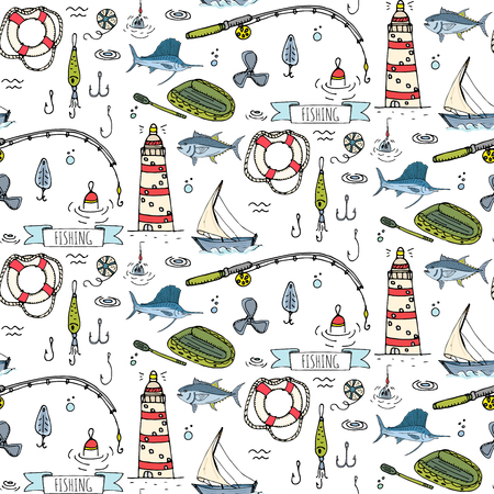 Seamless pattern hand drawn doodle Fishing icons set. Cartoon vector illustration. Fish catching equipment elements collection Rod Baits Spinning Lure Boat Lighthouse Fishing cloth Inflatable Marlin Illustration