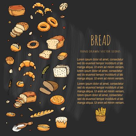 手描き落書き漫画食品: ライ麦パン、チャバタ、全粒パン、ベーグル、パン、フランスパン、クロワッサン、サンドイッチ、ケーキをスライスします。パンを設定します。ベクトルの図。要素のコレクションをスケッチします。 写真素材 - 77916684