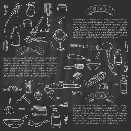 Hand drawn doodle Hair salon icons set. Vector illustration. Barber symbols collection. Cartoon hairdressing equipment elements: shampoo, mask, hair die, scissors, iron, curlers, dryer, razor.