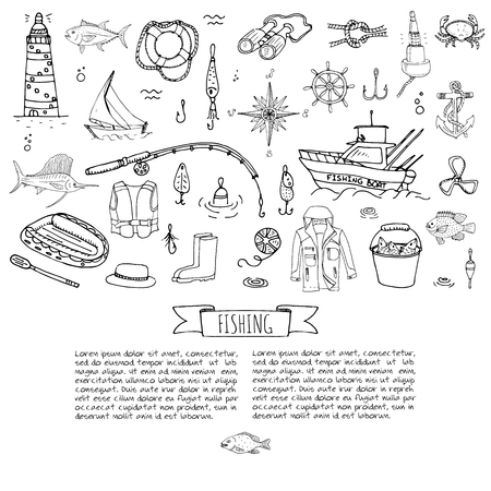Hand drawn doodle Fishing icons set Vector illustration fishing equipment elements collection Cartoon fish catching concept Rod Baits Spinning Lure Boat Lighthouse Fishing cloth Inflatable Marlin Ilustração