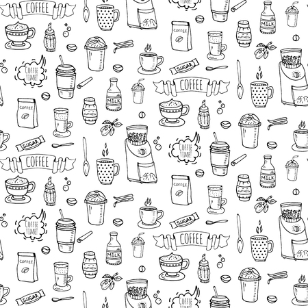 Seamless background hand drawn doodle Coffee time icons set Vector illustration isolated drink symbols collection Cartoon various beverage element: mug, cup, espresso, americano, irish, decaffeinated