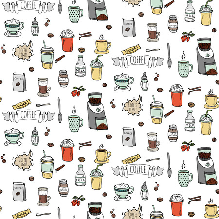Seamless background hand drawn doodle Coffee time icons set Vector illustration isolated drink symbols collection Cartoon various beverage element: mug, cup, espresso, americano, irish, decaffeinated Imagens - 80732135