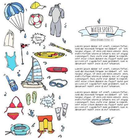Doodle dibujado a mano Iconos de deportes acuáticos conjunto. Ilustración vectorial, colección de símbolos aislados, Cartoon varios elementos: jetski, wakeboard, esquí acuático, surf, kayak, kitesurf, paddle, parapente