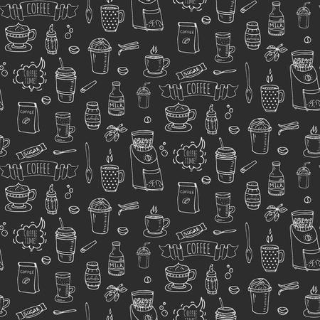 완벽 한 배경 손으로 그린 낙서 커피 시간 아이콘을 설정 벡터 일러스트 레이 션 격리 된 음료 기호 컬렉션 만화 다양 한 음료 요소 : 낯 짝, 컵,에  일러스트
