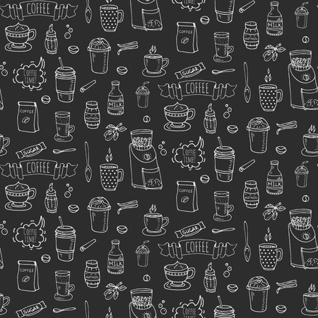 Seamless background hand drawn doodle Coffee time icons set Vector illustration isolated drink symbols collection Cartoon various beverage element: mug, cup, espresso, americano, irish, decaffeinated Imagens - 80732136