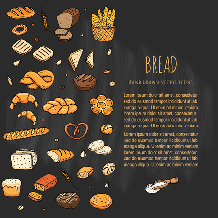 Hand drawn doodles of cartoon food: rye bread, ciabatta, whole grain bread, bagel, sliced bread, french baguette, croissant, sandwich, cake. Bread set. Vector illustration. Sketch elements collection.