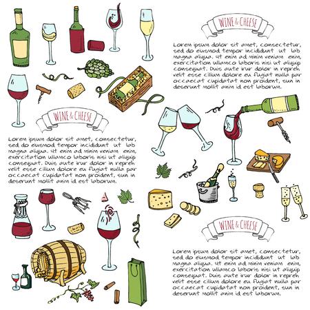 Hand drawn wine set icons Vector illustration Sketchy wine tasting elements collection Winery objects Cartoon symbols Vineyard background Vine Vineland Grape Glass Bottle Cheese Oak barrel Opener Stock Vector - 80732137
