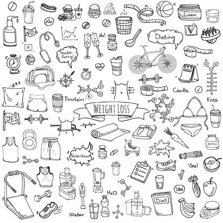 Hand drawn doodle Weight loss icons set Vector illustration dieting symbols collection Cartoon sketch elements Diet Sport equipment Healthy food eating Nutrition Protein Carbs Fats chemical formula Ilustração