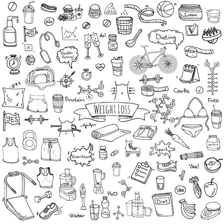 Hand getekende doodle Gewichtsverlies pictogrammen set Vector illustratie dieet symbolen collectie Cartoon schets elementen Dieet Sport apparatuur Gezond eten eten Voeding Proteïne Carbs Vetten chemische formule