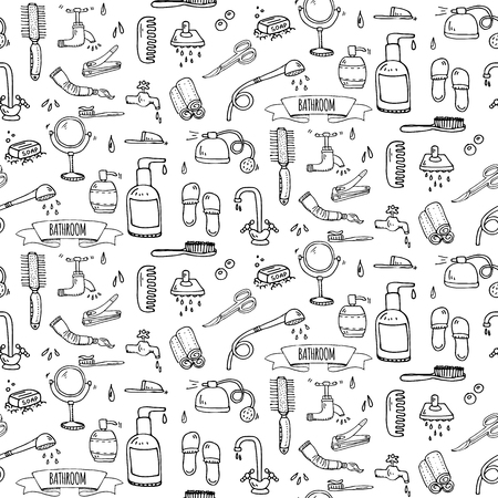 Seamless pattern hand drawn doodle Bathroom related icons set Vector illustration home bath symbols collection Cartoon elements Sketch Toilet Sink Shower Bathtub Lavatory Towel Robe Slippers Fan Illustration