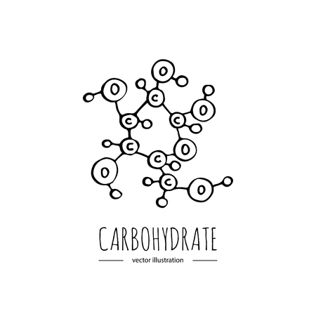 Hand drawn doodle Carbohydrate chemical formula icon Vector illustration Carbs dieting symbol Cartoon sketch weight loss element Fitness diet Sport nutrition Healthy eating On white background Ilustrace