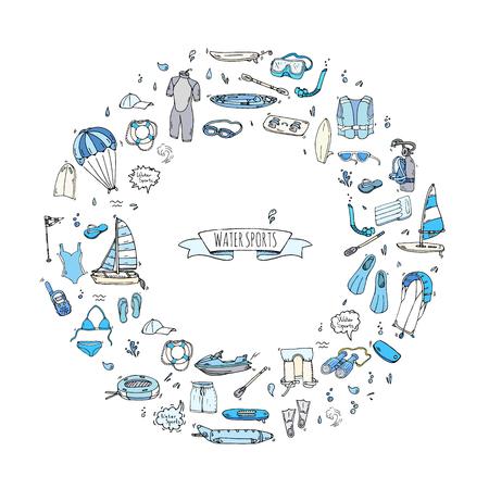 Doodle Water sports icons set. Vector illustration, isolated symbols collection, Cartoon various elements: jetski, wakeboard, waterski, surfing, kayak, kitesurfing, paddle, parasailing