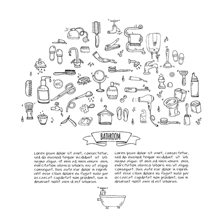 Doodle Bathroom related icons set Vector illustration home bath symbols collection Cartoon elements on white background Sketch Toilet Sink Shower Lavatory Towel