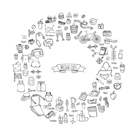 Doodle Weight loss icons set Vector illustration dieting symbols collection Cartoon sketch elements Diet Sport equipment Healthy food eating Nutrition Protein Carbs Fats chemical formula