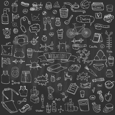 health and fitness: Hand drawn doodle Weight loss icons set Vector illustration dieting symbols collection Cartoon sketch elements Diet Sport equipment Healthy food eating Nutrition Protein Carbs Fats chemical formula Illustration