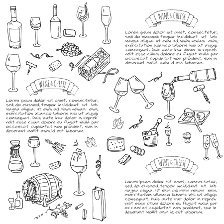 Hand drawn wine set icons illustration Sketchy wine tasting elements collection Winery objects Cartoon symbols Vineyard background Vineland Grape Glass Bottle Cheese Oak barrel Opener Illustration