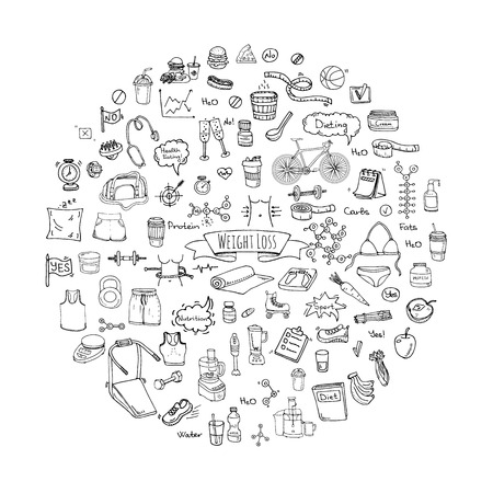 Hand drawn doodle Weight loss icons set.