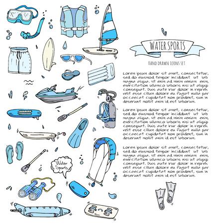 Hand drawn doodle Water sports icons set. Vector illustration, isolated symbols collection, Cartoon various elements: jetski, wakeboard, waterski, surfing, kayak, kitesurfing, paddle, parasailing Ilustração