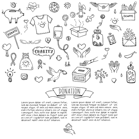 Hand drawn doodle Donation icons set. Vector illustration. Charity symbols collection Cartoon donate sketch elements: blood donation, box, heart, money jar, care, help, gift, giving hand, fund raising. Ilustrace