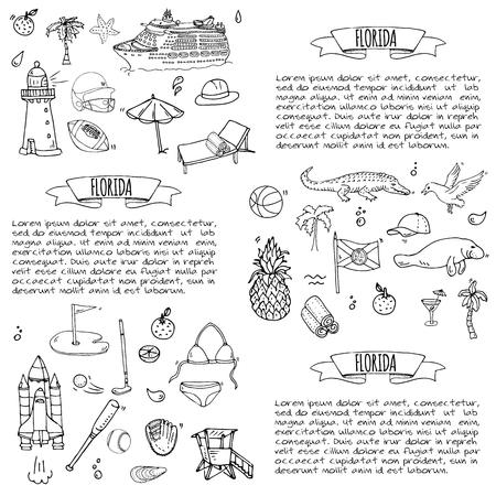 Set di icone disegnata a mano di doodle di Florida. Illustrazione vettoriale, raccolta di simboli isolati di stato USA, elementi di fumetto Alligator Manatee Yacht crociera pecore Pesca in barca Golf football americano Palme Archivio Fotografico - 80113820