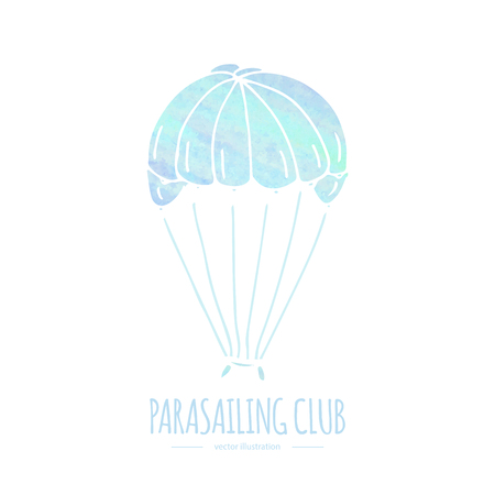 Hand drawn doodle Water sports related icon - para sailing. Vector illustration isolated symbols on white background Cartoon watercolor element for parasailing for web, site, design, template, banner