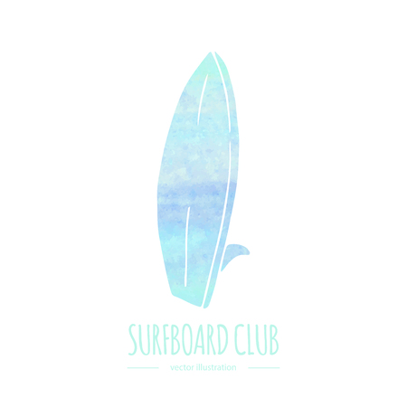Hand drawn doodle water sports related icon surfboard. Vectorized watercolor texture.Vector illustration. Isolated symbol on white background Cartoon element for for web site design template.