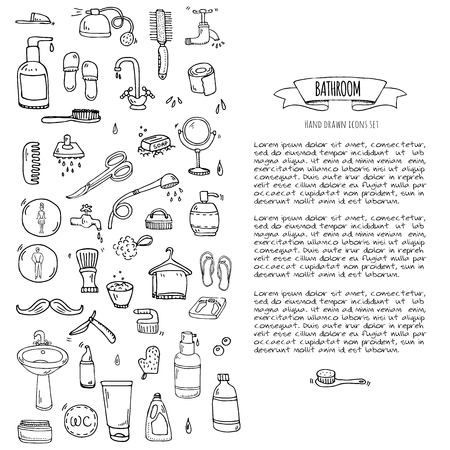 Hand drawn doodle Bathroom related icons set Vector illustration home bath symbols collection Cartoon elements on white background Sketch Toilet Sink Shower Bathtub Lavatory Towel Robe Slippers Fan. Stok Fotoğraf - 80113827