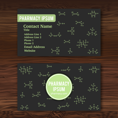 Business card template with hand drawn doodles of cartoon organic chemical molecule. Vector illustration. Sketch chemistry formula elements. Pharmacy concept for name card. Wood background