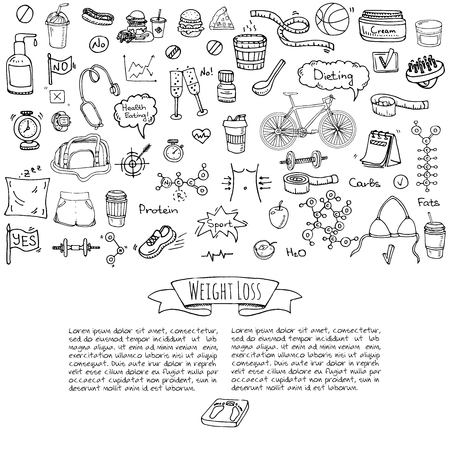 Hand drawn doodle Weight loss icons set Vector illustration dieting symbols collection Cartoon sketch elements Diet Sport equipment Healthy food eating Nutrition Protein Carbs Fats chemical formula. Illustration