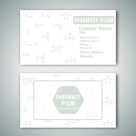 Business card template with hand drawn doodles of cartoon organic chemical molecule. Vector illustration. Sketch chemistry formula elements. Pharmacy concept for name card. White background