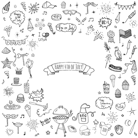 cookout: Hand drawn doodle Happy 4th of July icons set Vector illustration USA independence day symbols collection Cartoon sketch celebration elements: BBQ, food, drink, party, rocket, fireworks, American flag