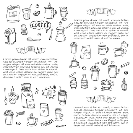 Hand drawn doodle coffee time icon set