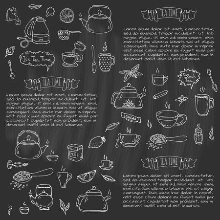 손으로 그린 낙서 차 시간 아이콘을 설정합니다. 벡터 일러스트 레이 션. 절연 음료 기호 컬렉션. 만화 다양한 음료 요소 : 찻잔, 컵, 주전자, 잎, 가 일러스트