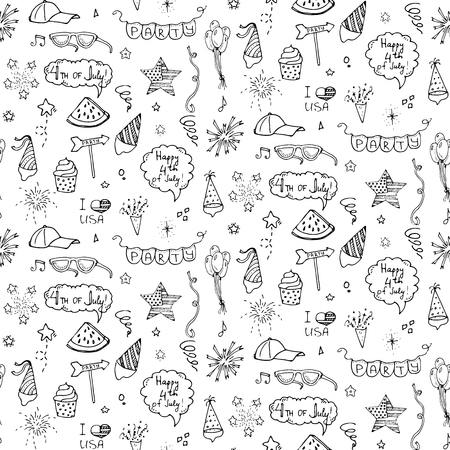 A Seamless pattern hand drawn doodle Happy 4th of July icons set Vector illustration USA independence day symbols collection Cartoon sketch celebration elements: BBQ, food, drink, fireworks, American