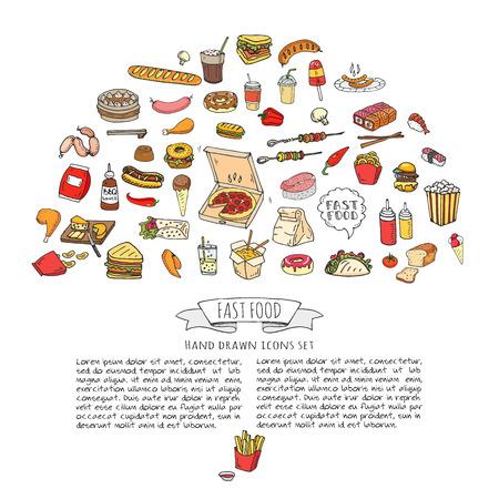 Hand gezeichnet Doodle Fast Food Icons. Vektor-Illustration. Junk-Food-Elemente Sammlung. Cartoon Snack verschiedene Skizze Symbol: Soda, Burger, Kartoffel, Hot Dog, Pizza, Tacos, süße Wüste, Krapfen, Popcorn Standard-Bild - 80951246